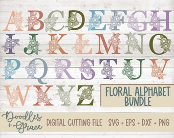 Floral Alphabet SVG Bundle | Flower Alphabet SVG | Flower Monogram SVG Files | Single Line Alphabet cut file | svg | dxf | eps | png