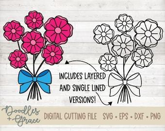 3D Layered Flower Bouquet SVG File | Flower Bouquet Single Line SVG | Rustic Flower SVG File | Flower Cut File | svg | dxf | eps | png