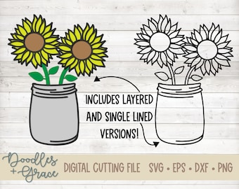 3D Layered Sunflowers SVG File | Sunflowers Single Line SVG | Sunflower Paper Crafting SVG File | Sunflower Cut File | svg | dxf | eps | png
