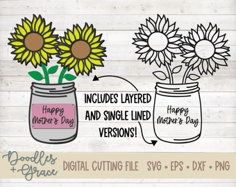 3D Layered Happy Mother's Day Sunflowers SVG File | Layered Mother's Day SVG | Mother's Day Paper Crafting SVG File | svg | dxf | eps | png