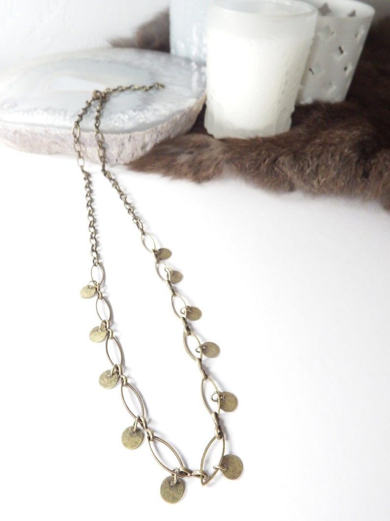 Boho Gypsy Bronze Chain Necklace with Metal Charms