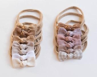 Mini Knot Bows - Options     Baby Headbands, Baby Bows, Newborn Headbands, Girls Bows, Bow Set, Linen Bows, Hand Tied Baby Bows