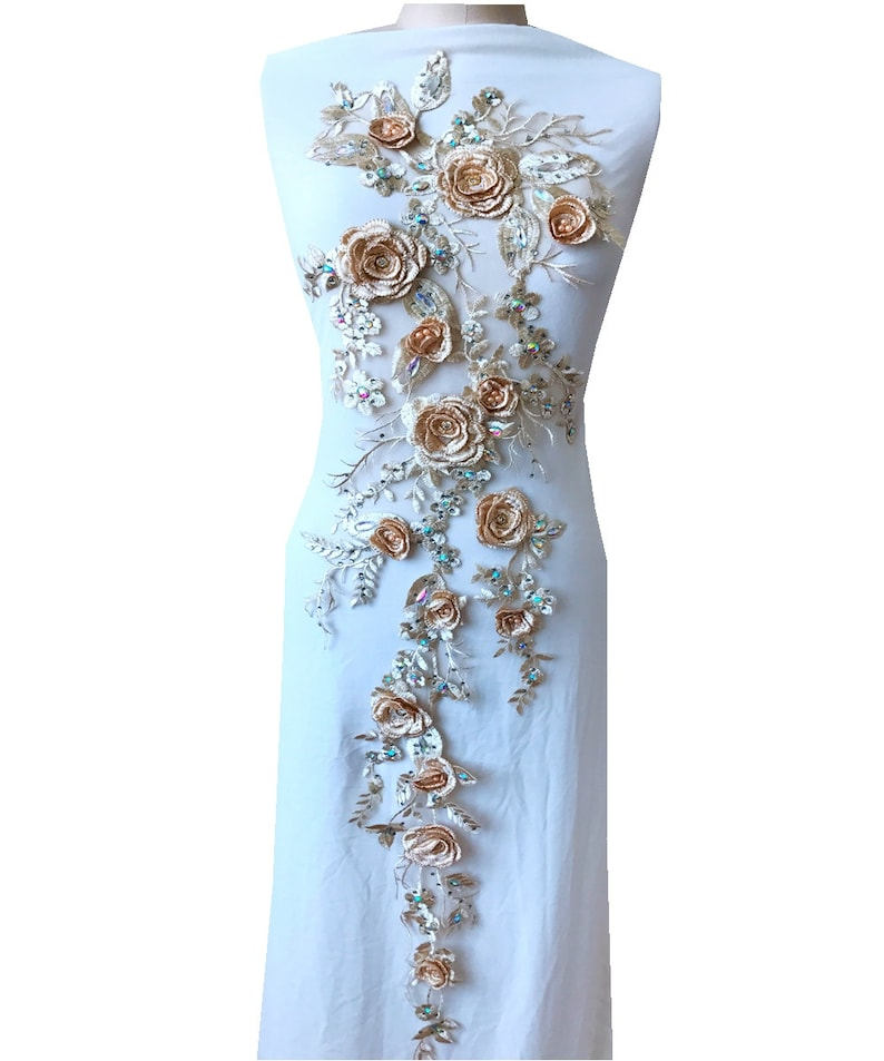 7 colors high quality retro flowers lace rhinestone beaded decal super long lace flower detail wedding dress lyrical dance 1