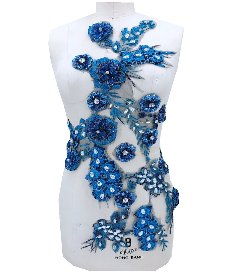 Green beaded embroidery 3D lace flower rhinestone large applique high-grade wedding dress applique