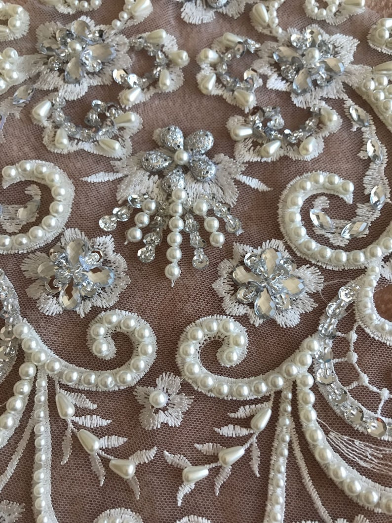 Senior Bride Wedding Dress Skirt 1 PC Heavy Water Diamond Bead Embroidery Lace Applique Flower Material Flower Lace Patch
