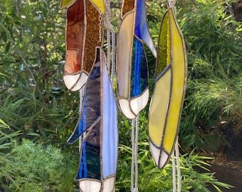 Stained Glass Feather Mobile | Suncatcher | Glass Art | Window Hanging | Dreamcatcher | Modern Macrame | Deer Antler | Bohemian Decor