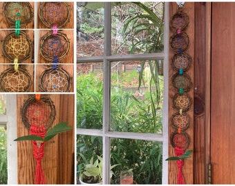 Chakra Dreamcatcher | Macrame Plant Hanger | Grapevine Wreath | Plant Propagation | Bohemian Home Decor | Wall Hanging | Spiritual Art