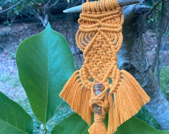 Crystal Spirit Medicine | Amber Crystal Chips | Macrame | Bohemian Home Decor | Wall Hanging | Witchy | Indoor Plant Art