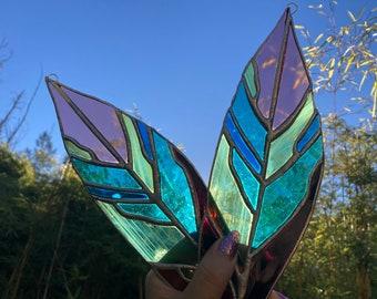 Botanic Stained Glass | Triostar Plant | Suncatcher | Glass Art | Houseplant Decor | Solder | Window Hanging | Plant Lover | Pink Plant Leaf