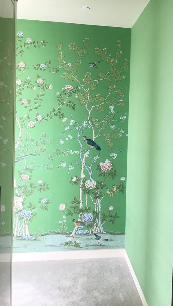 Chinoiserie Wallpaper On Emerald Green Dyed Silkdeposit Etsy,Custom Upholstered Headboards Toronto