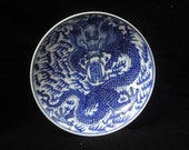 Chinese Antique Hand Painting Dragon Porcelain Plate Dish Marked quot KangXi quot