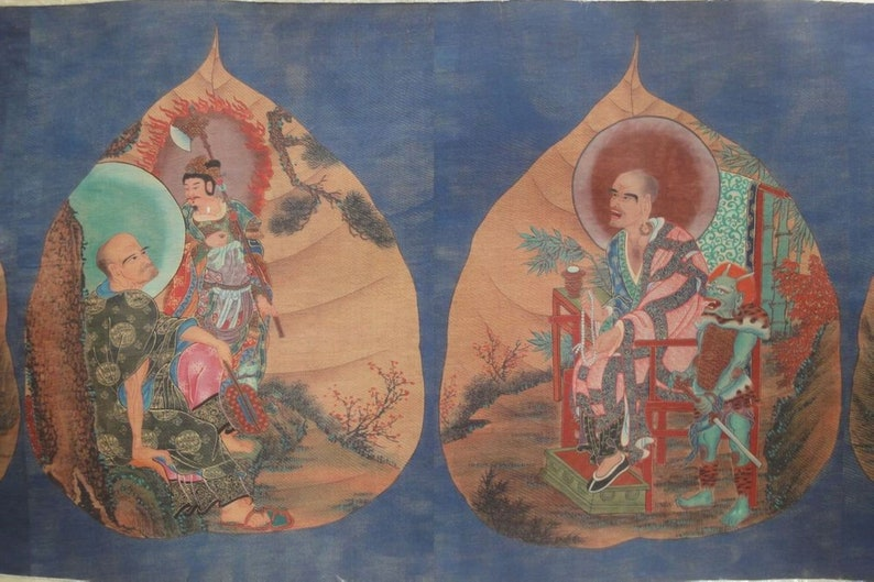 Very Long Old Fine Large Chinese Scroll Hand Painting LuoHanTu Marks