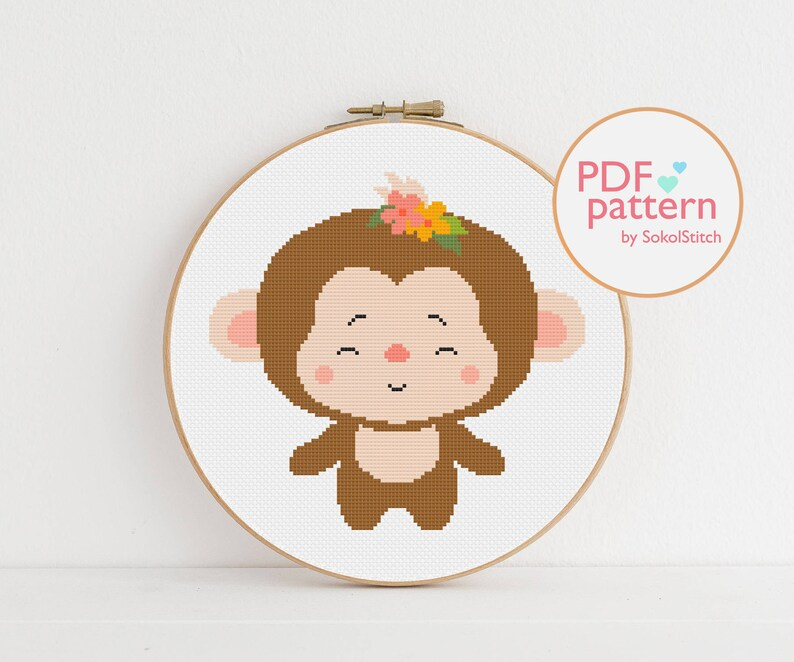 DIY nursery decor African animal easy embroidery pattern Easy embroidery design Monkey cross stitch PDF Pattern