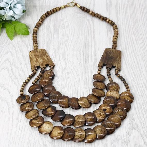 Tribal Faux Carved Bone Tribal Necklace  17 34 Inches