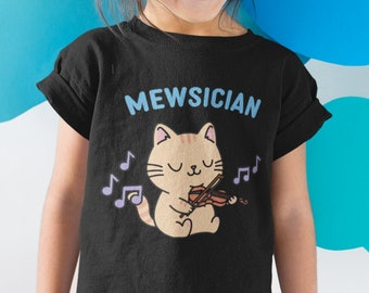 Mewsician Cat Playing the Violin Kid's Shirt   Gift for Orchestra Students