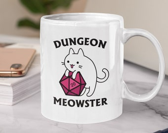 Dungeon Meowster Mug   Funny DnD Dungeon Master Gift for Cat Lovers