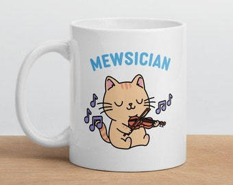 Mewsician Cat Playing the Violin Mug   Musician and Music Teacher Gift