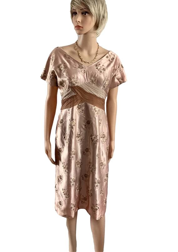 Vintage 1950's Silk Hourglass Cocktail Dress