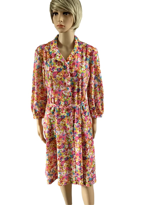 Tea Dresses-Floral Dresses-80s Clothing-Size 12 Vi