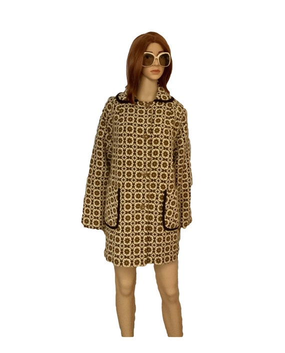 60s Vintage Coat Mod Tapestry Coat Welsh Wool Coat