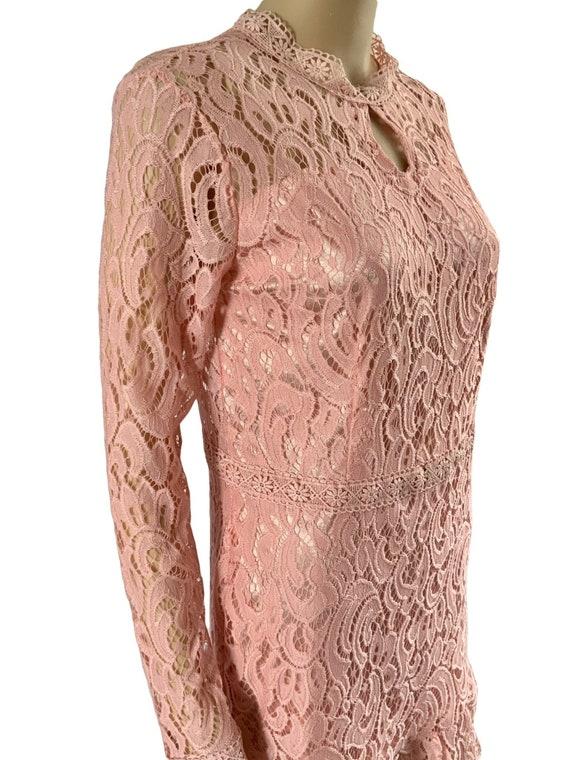 60s Pink Lace Mod Dress - image 2