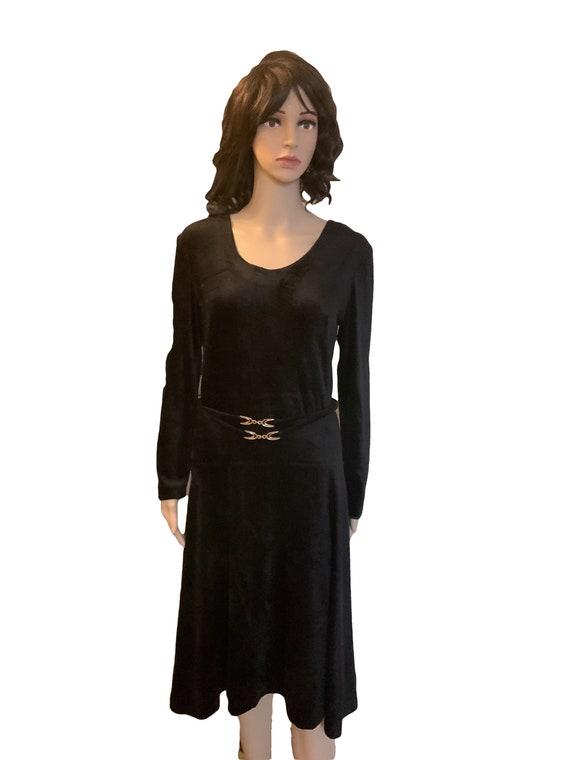 60s Black Vintage Horrockses Fashion Velour Fit &