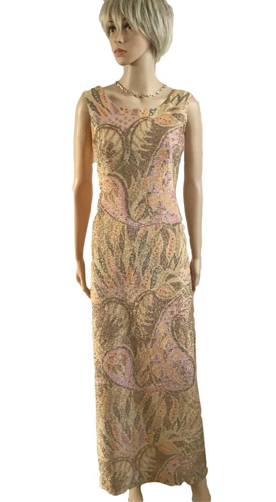 60's Gold Brocade Long Cocktail Dress