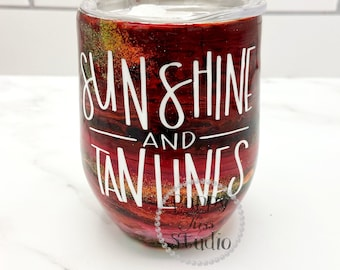 Sunshine + Tan Lines Summer Glitter Wine Tumbler and Lid 12oz or 22oz FREE Personalization - Name or Initials Stainless Steel!
