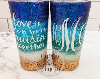 Gorgeous Custom Made BEACH Glitter & Ink Tumbler + Lid 22 FREE Personalization: Name or Initials Stainless Steel!