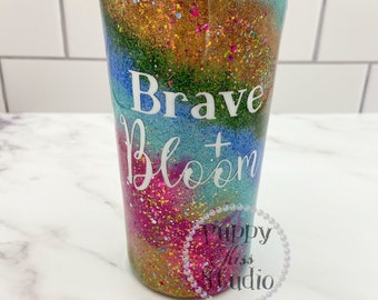 Milky Way Glitter Tumbler & Ink Custom Made Rainbow Cup + Lid 22oz FREE Personalization: Name or Initials Stainless Steel!
