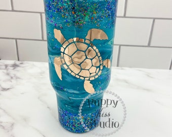 Sea Turtle & Ocean Glitter Tumbler 32oz FREE Personalization: Name or Initials Stainless Steel!