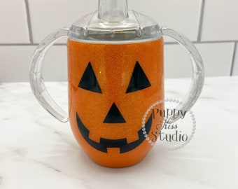 Orange Halloween Jack O Lantern Pumpkin 12oz Glitter Sippy Cup Tumbler FREE Personalization: Name or Monogram Initials Stainless Steel!
