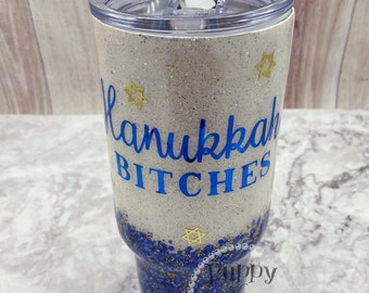 Hanukkah Bitches Chanukah Starbucks Glitter Tumbler 32oz FREE Personalization: Name or Initials Stainless Steel!