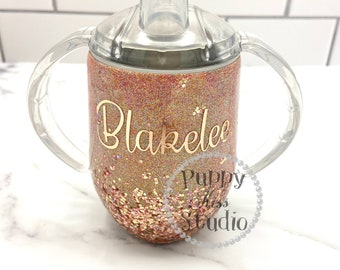Rose Gold Custom 12oz 22oz 32oz Glitter Sippy Cup or Adult Tumbler FREE Personalization: Name Monogram Stainless Steel! Baby Girl