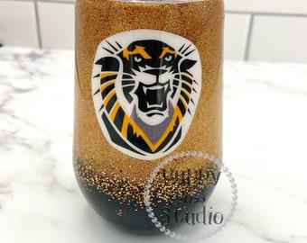 College Sports Glitter Tumbler & Lid Wine 12oz Stainless Steel Custom