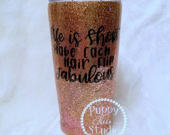 Hair Stylist Hairdresser Custom Glitter Tumbler + Lid 22oz Mixed Metals Rose Gold Silver FREE Personalization: Name Initials Stainless Steel