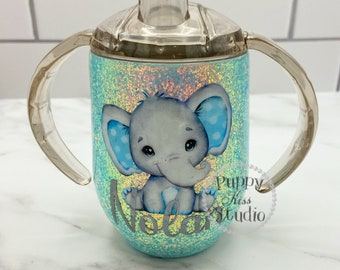 Baby Boy Glitter Sippy Cup Elephant 12oz FREE Personalization: Name Monogram Initials Stainless Steel!