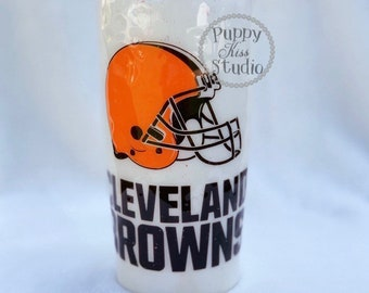 The Cleveland Browns Glitter Tumbler & Lid 22oz Stainless Steel