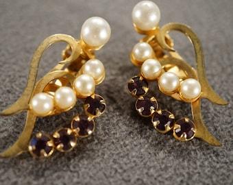 Vintage Art Deco Style Faux Pearl Rhinestone Euro Wire Pierced Earrings Dangle Jewelry   K#21