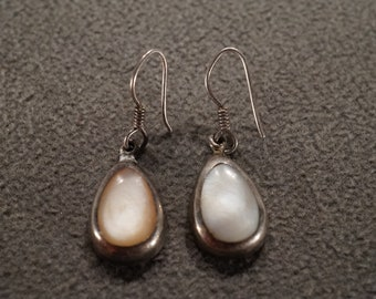 Baroque Lavender Peach Pearl and Gemstone Heshi Pearl Dangle Earrings on Sterling CZ inset Ear Wires