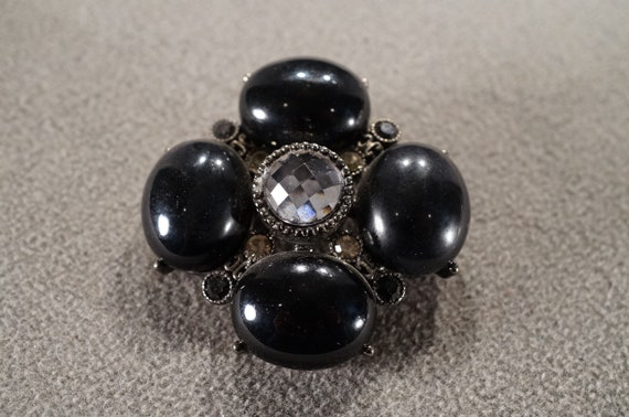 Vintage Victorian Inspired Silver Tone Rhinestone Black Stone Bar Brooch Pin