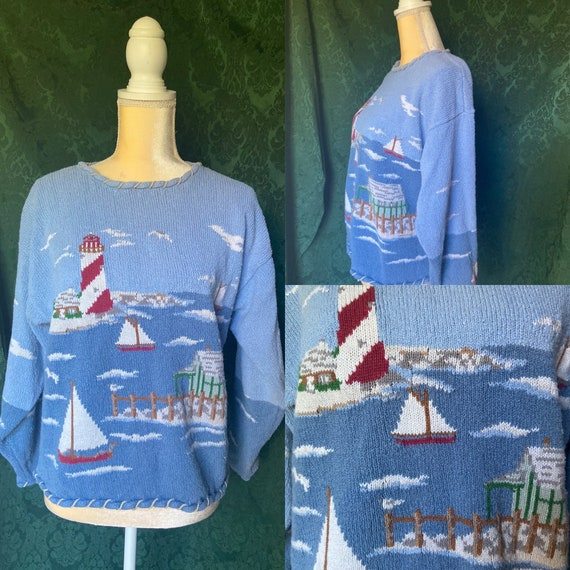 Vintage Nautical Sweater/ 80s Nautical Pull Over S