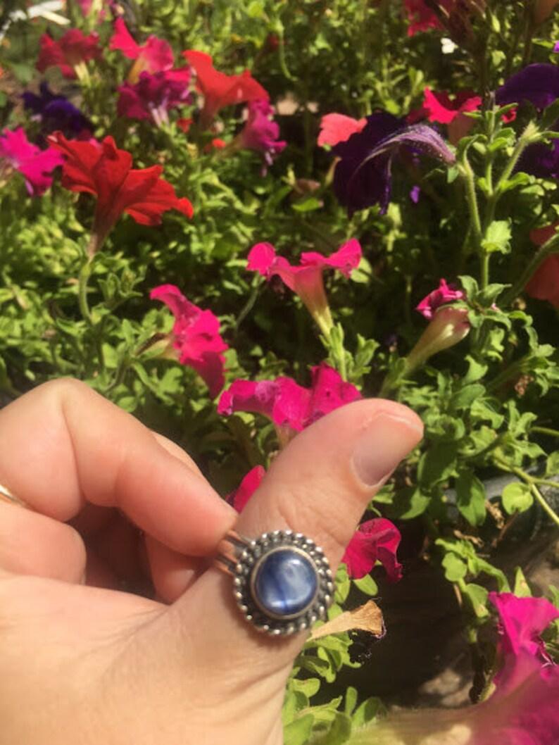 Handmade Blue Kyanite Ring Set in .925 Sterling Silver