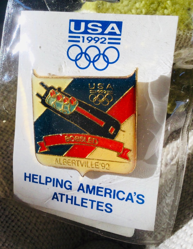 Vintage 1992 Albertville France Winter Olympic Games Pin BOBSLED