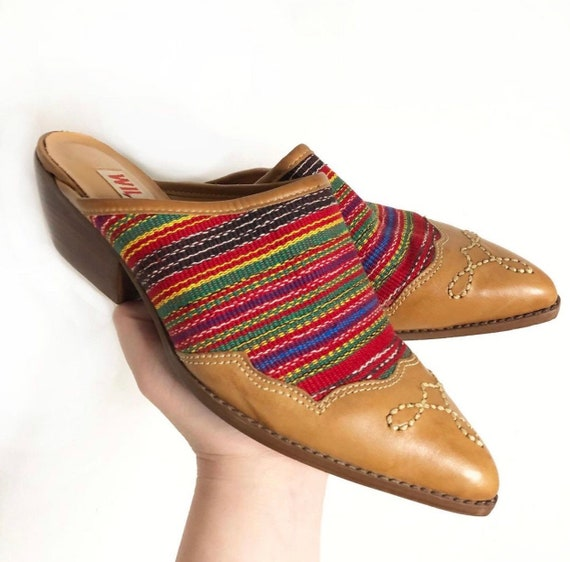80's western cowboy mules with tapestry and leathe