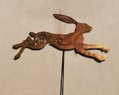 Rustic Rabbit Garden Stake