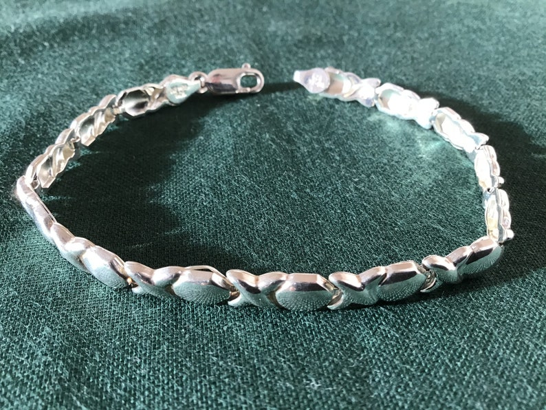 Vintage Sterling Silver Sixstar Rhodium plated bracelet from Mexico