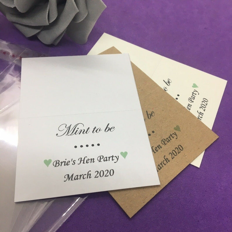 10 x DIY Personalised Mint to Be Wedding Favours Bags and Toppers Thank You Gift Engagement Retiremints