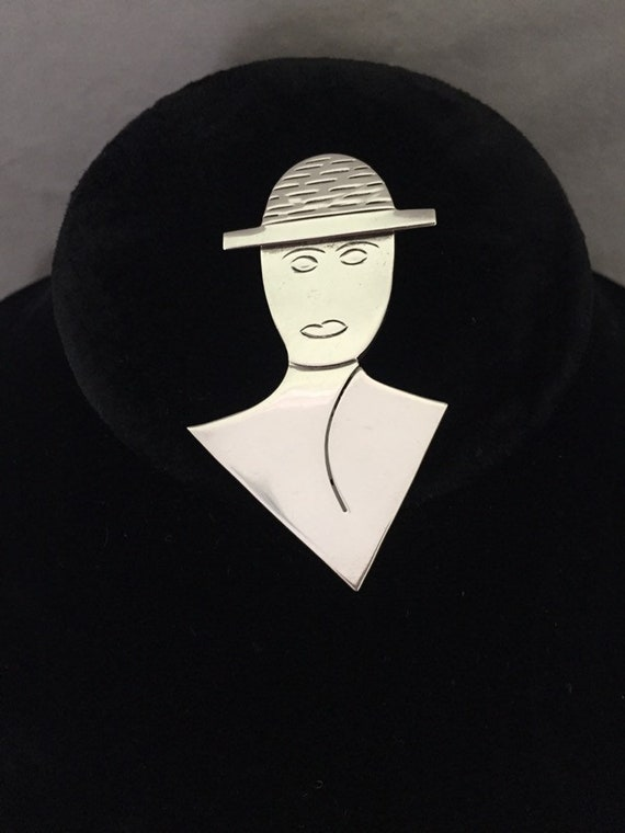 Taxco Mexico Sterling Silver Lady in Hat Brooch