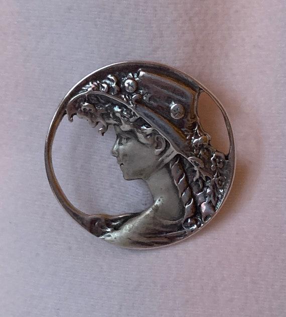 Sterling Silver Lady in Hat Brooch